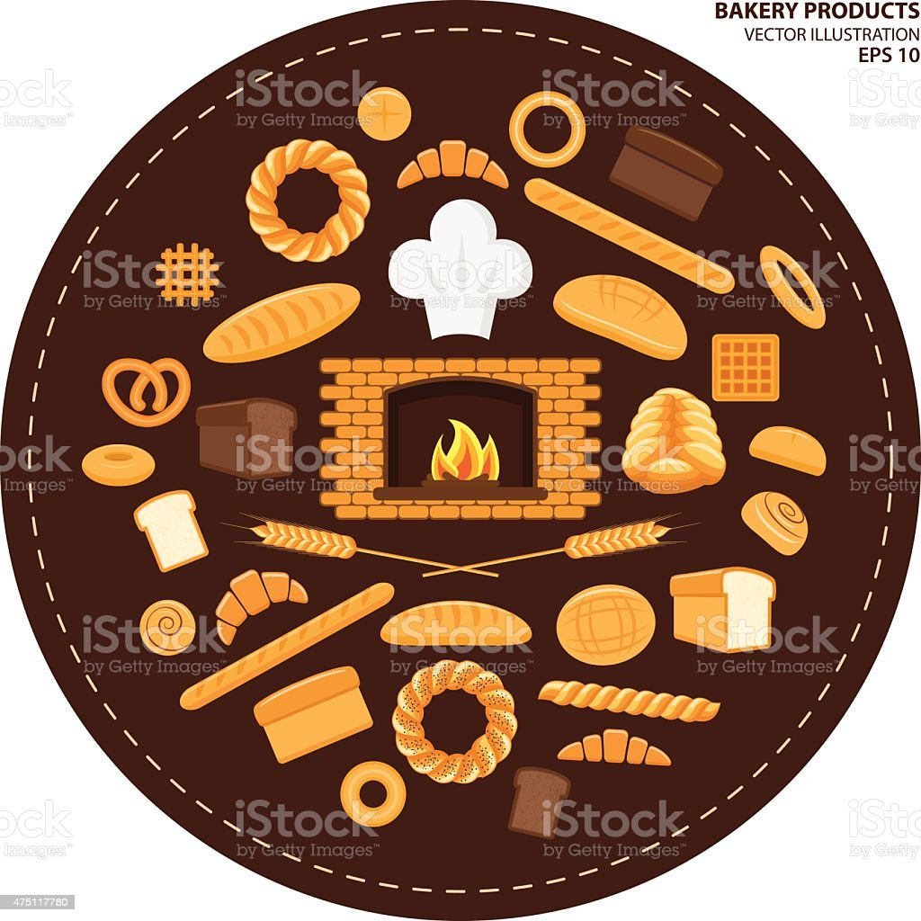 Set of different kinds of bread and bakery products vector art illustration