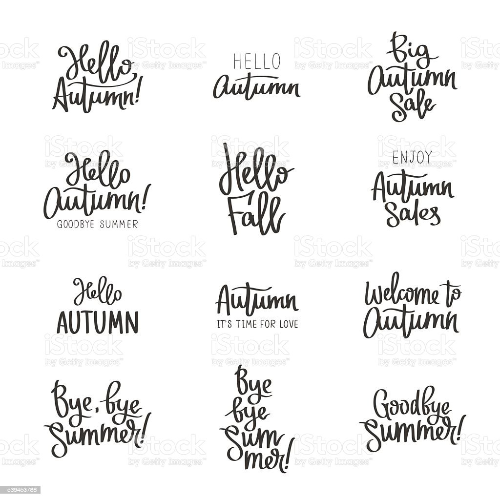 Set of different labels about the autumn. vector art illustration