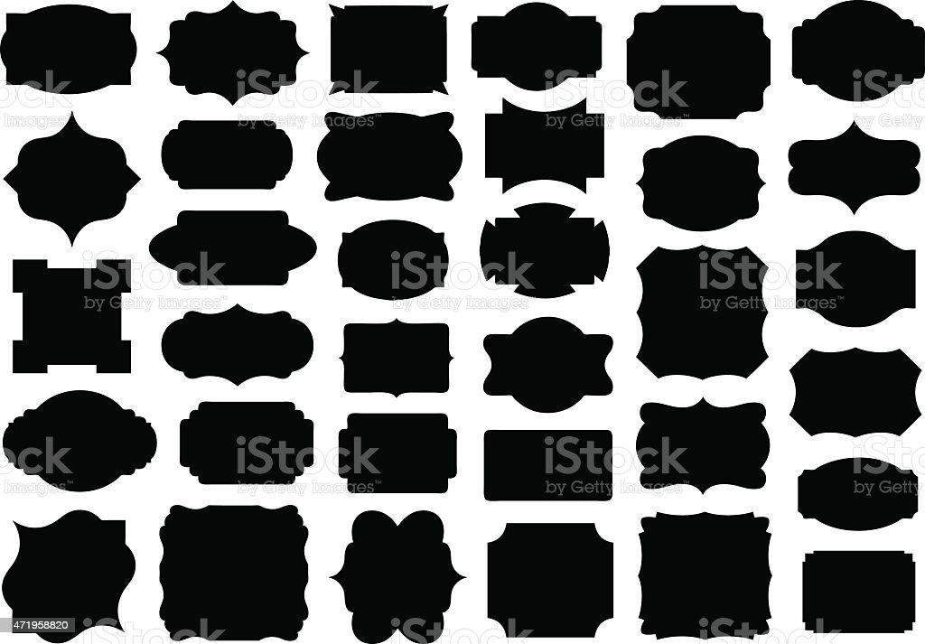 Set of different labels vector art illustration