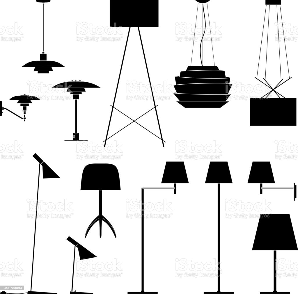 Set of different lamps. Black silhouette floor, table and sconce vector art illustration