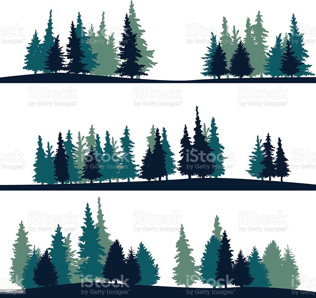set of different landscape with fir-trees vector art illustration