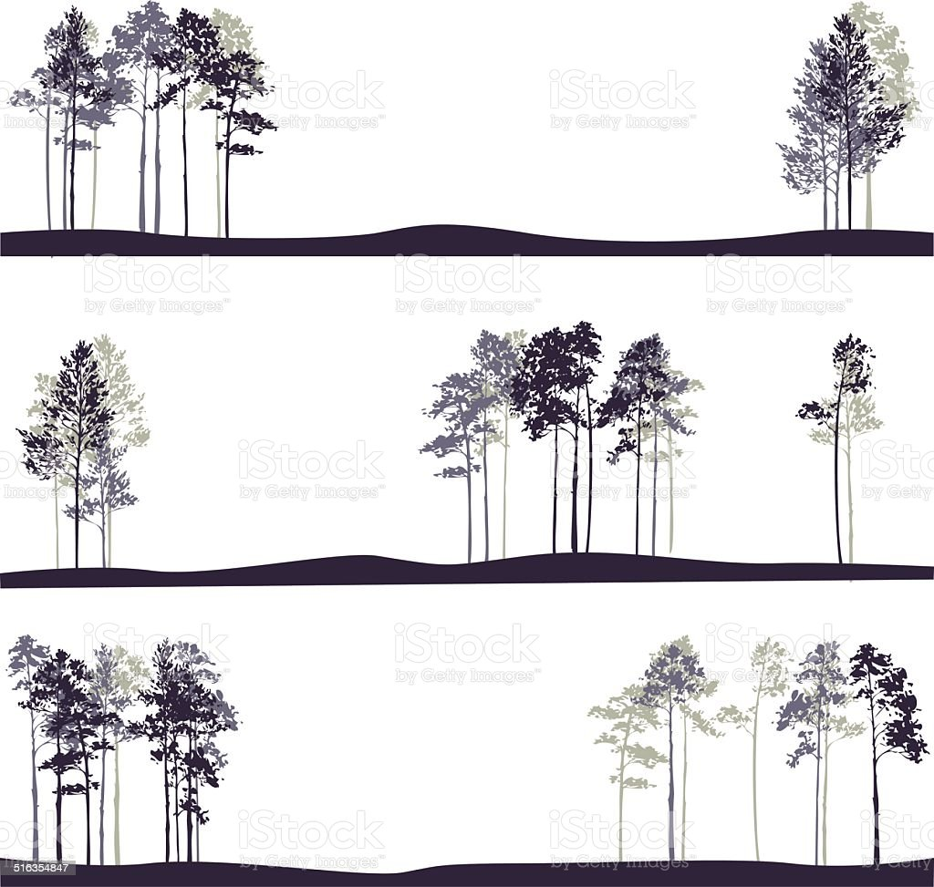 set of different landscapes with pine trees vector art illustration