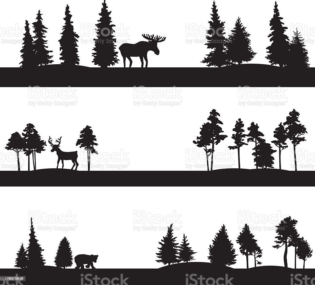 set of different landscapes with trees and animals vector art illustration