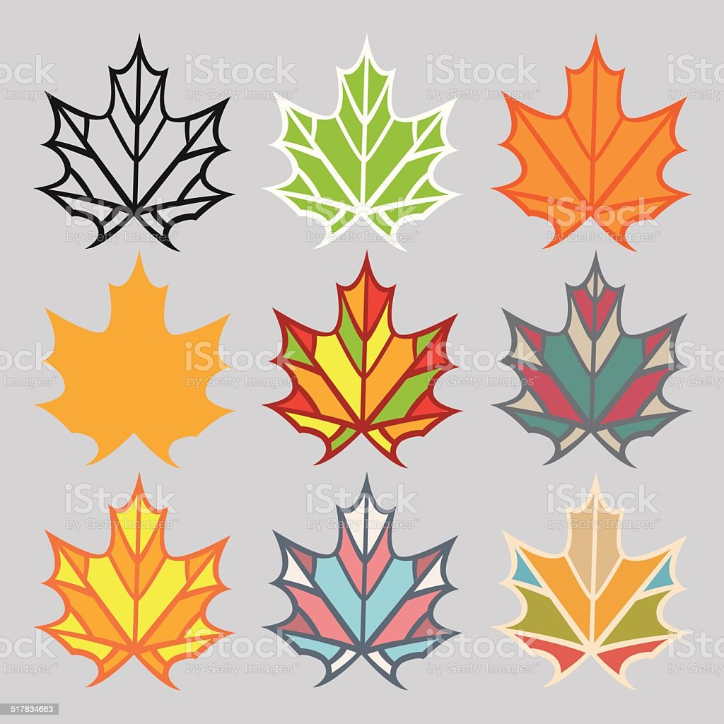 Set of different leaves royalty-free stock vector art