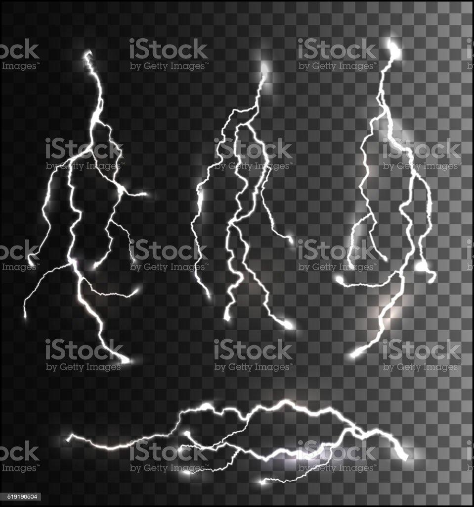 Set of different lightning bolts on a transparent background. Ve vector art illustration