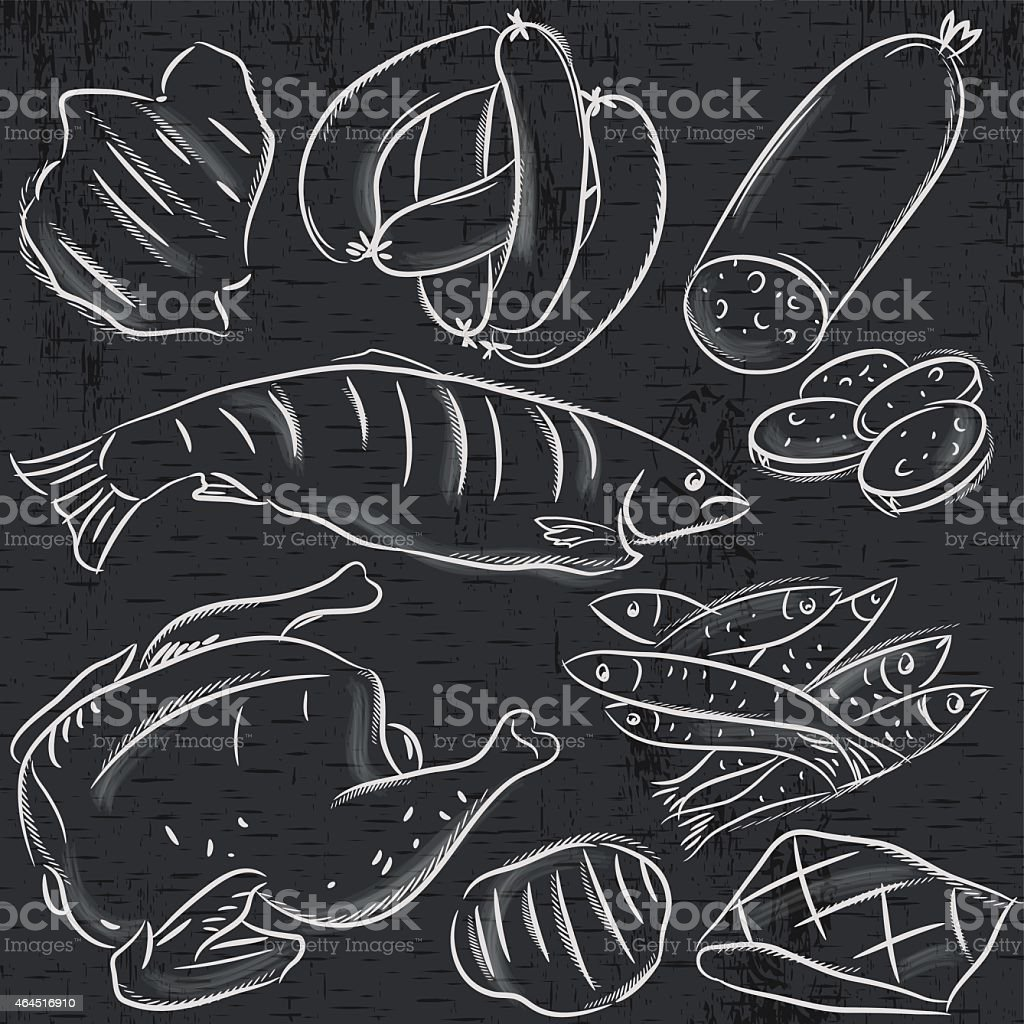 set of different meats on blackboard , vector vector art illustration