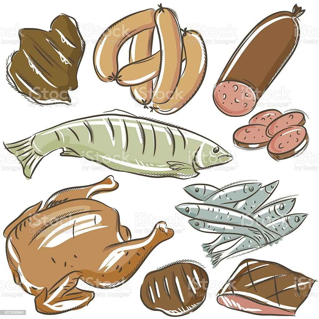 set of different meats , vector royalty-free stock vector art