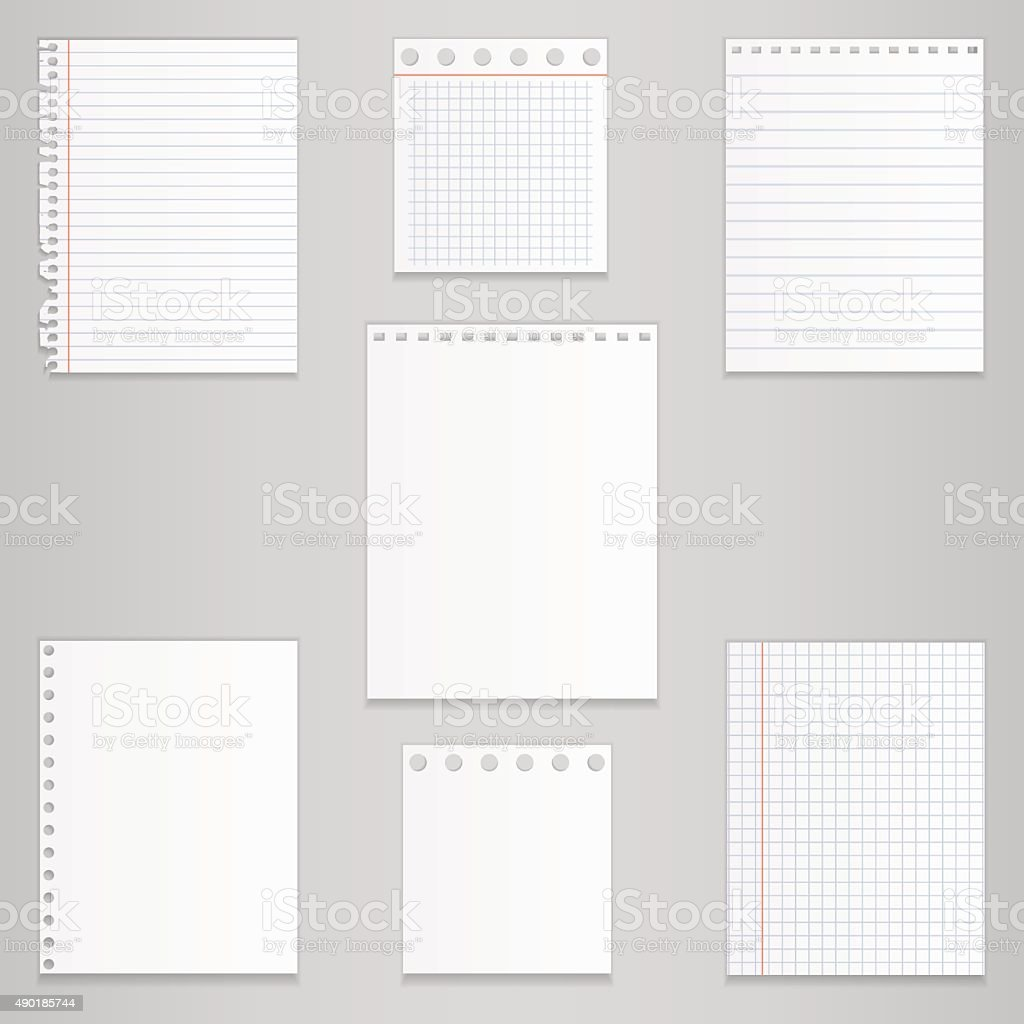 Set of different notebook paper, vector vector art illustration