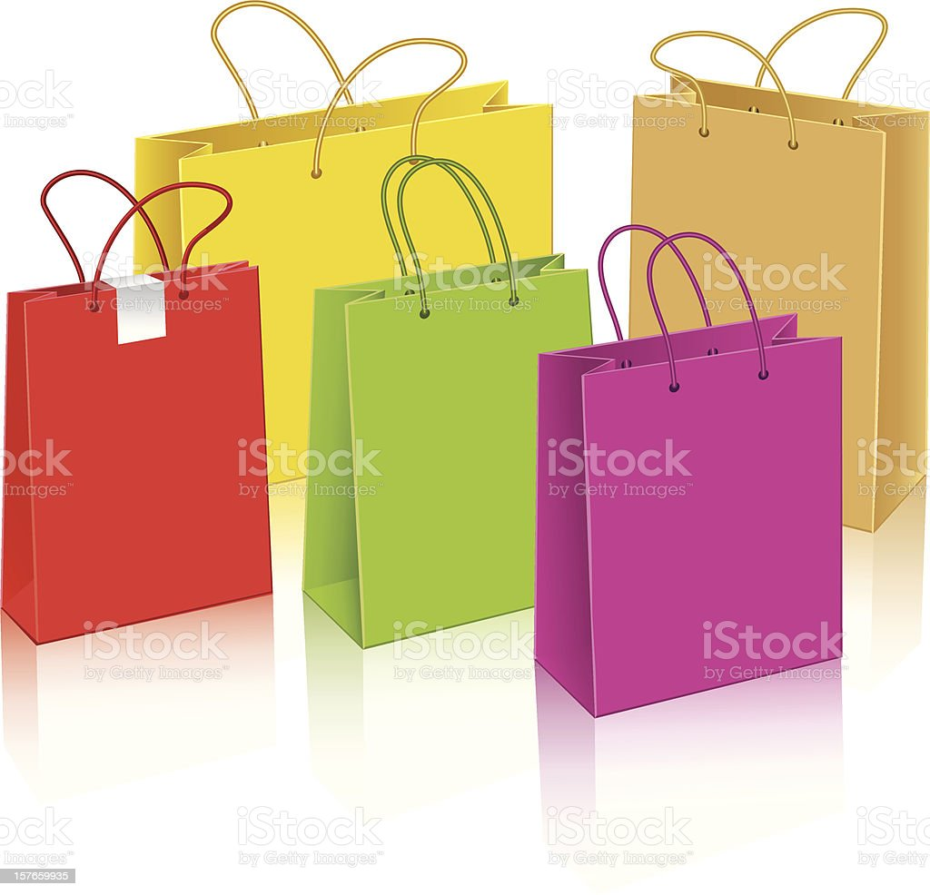 Set of different paper bags vector art illustration