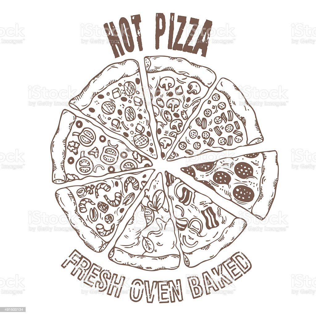 Set of different pizza slices in vector. Hand drawing food vector art illustration