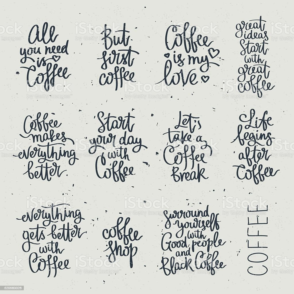 Set of different quotes about coffee vector art illustration