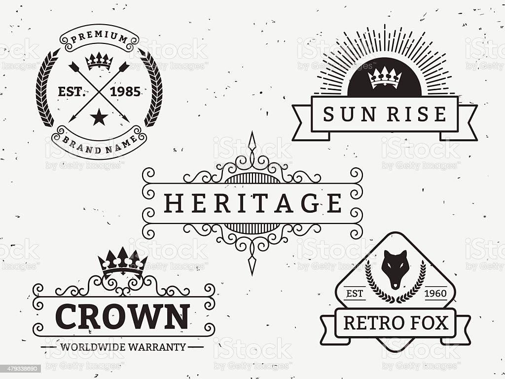 Set of different retro badge design. vector art illustration