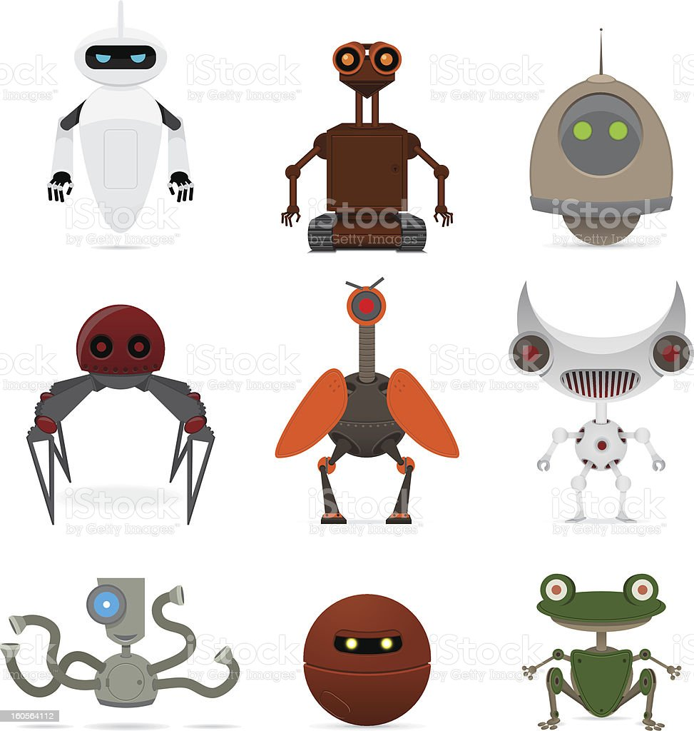 Set of different robots royalty-free stock vector art