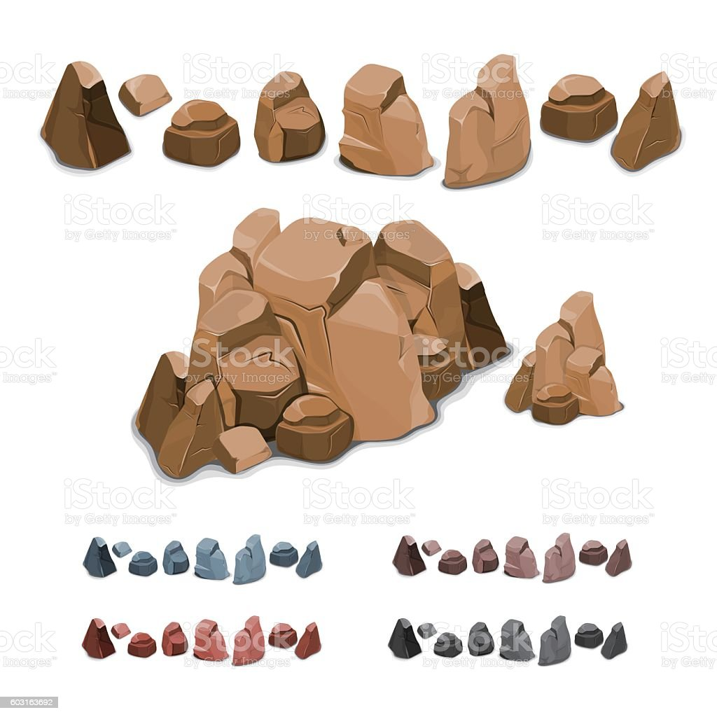 Set of different rocks vector art illustration