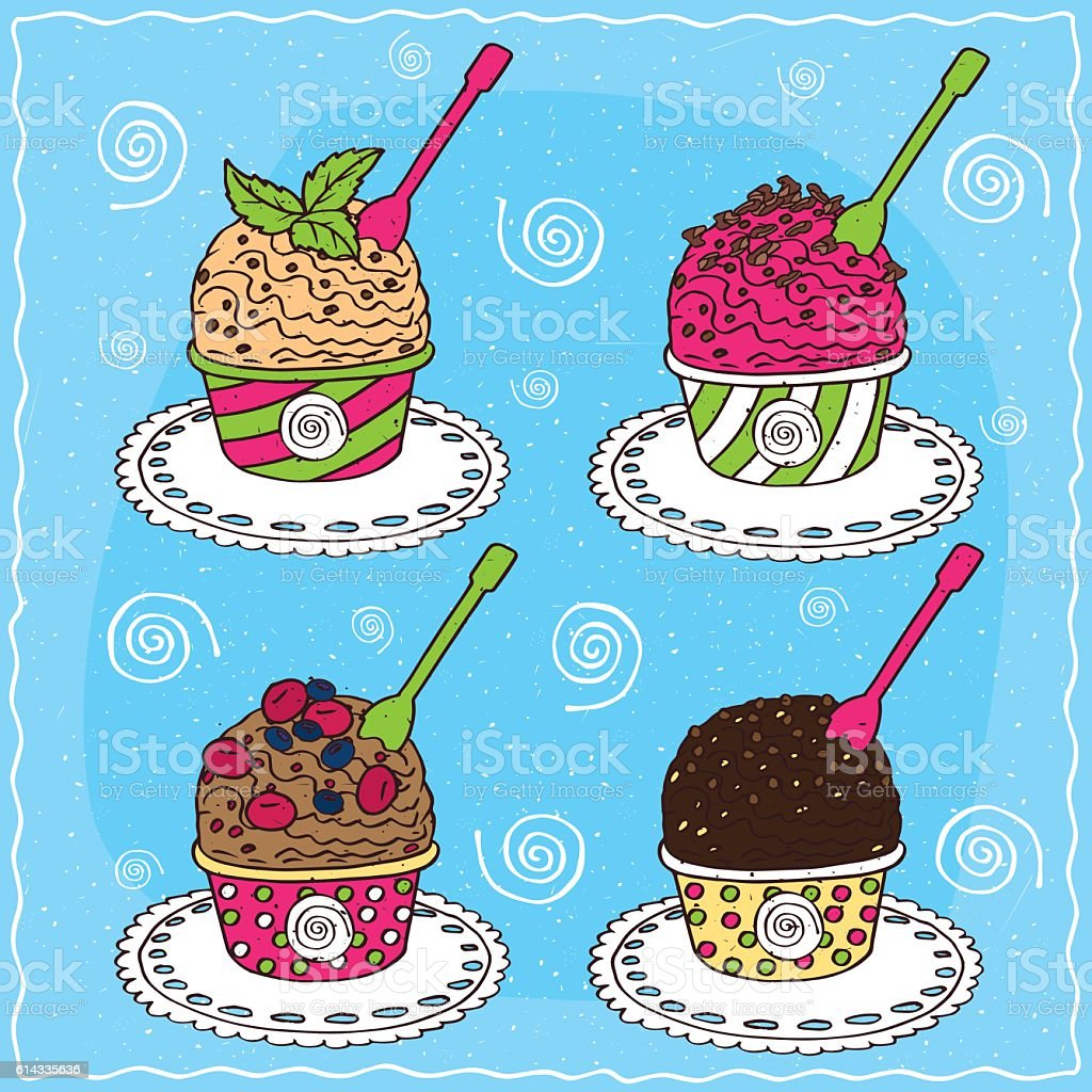 Set of different scoop of ice cream vector art illustration
