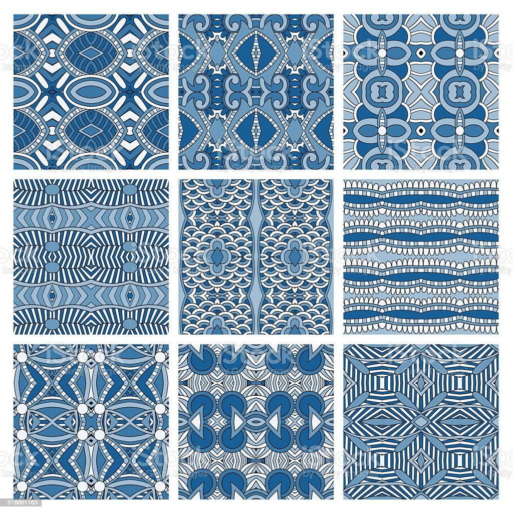 set of different seamless colored vintage geometric pattern, tex vector art illustration
