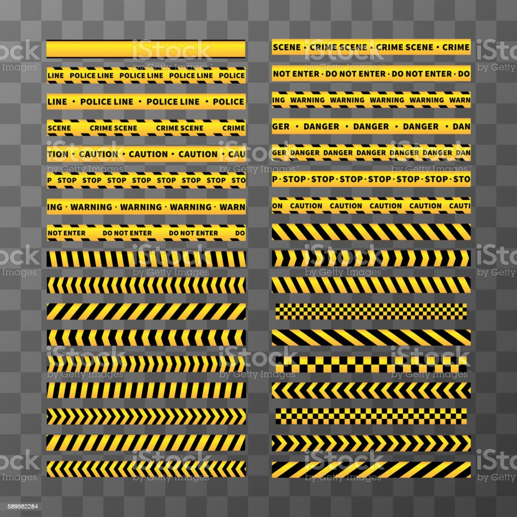 Set of different seamless yellow and black caution tapes vector art illustration