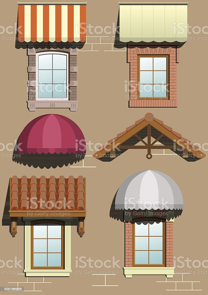 Set of different shelters. vector art illustration