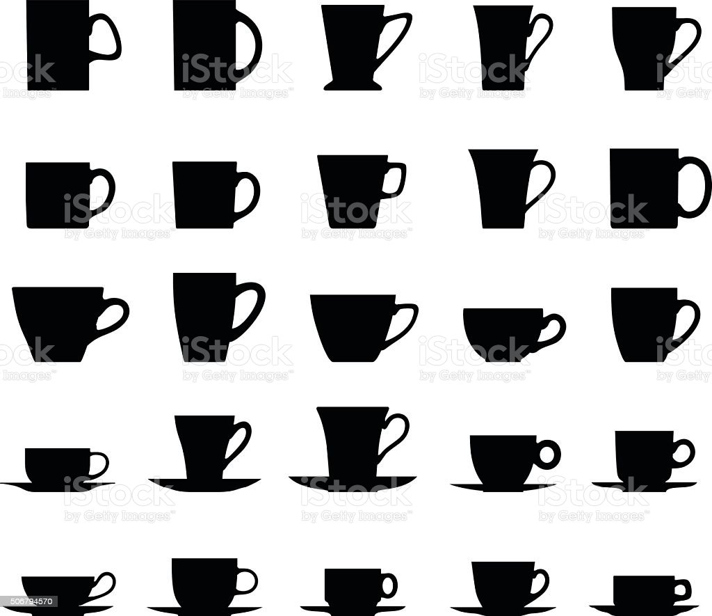Set of different silhouettes tea cups isolated on white background. vector art illustration