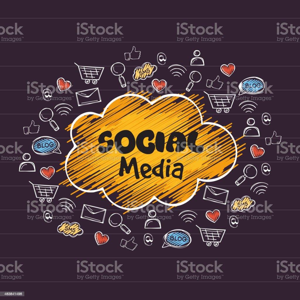 Set of different social media icons. vector art illustration
