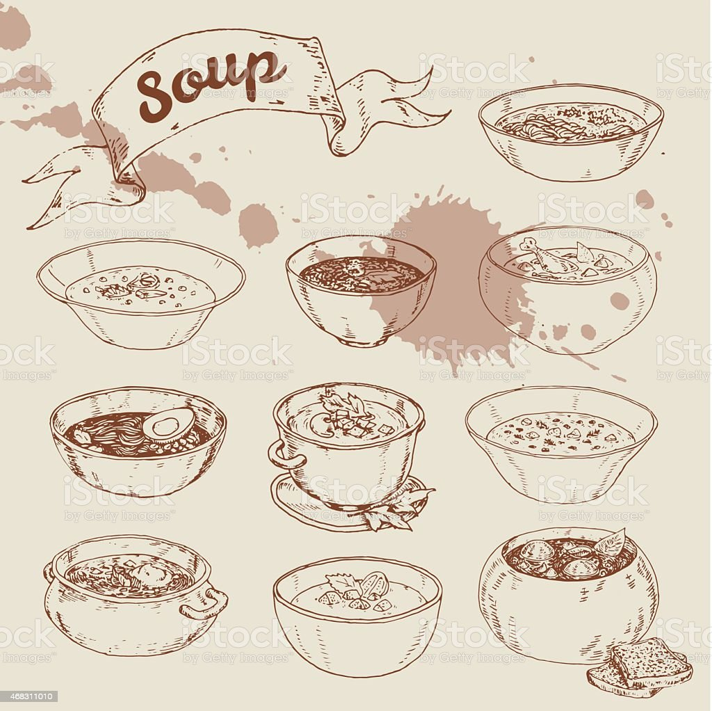 set of different soups national cuisine vector art illustration