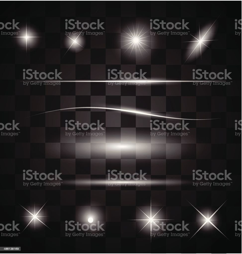 Set of different sparkling white light effects vector vector art illustration
