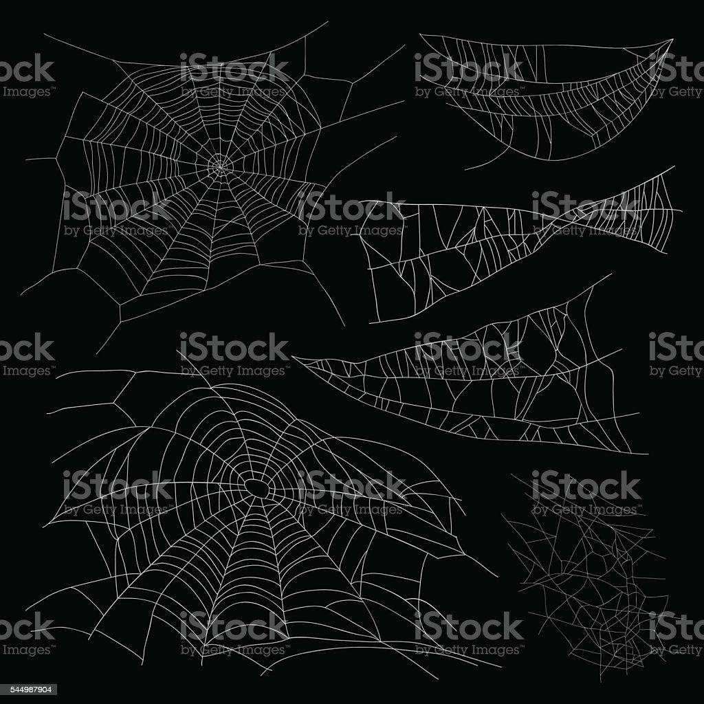 Set of different spiderwebs vector art illustration
