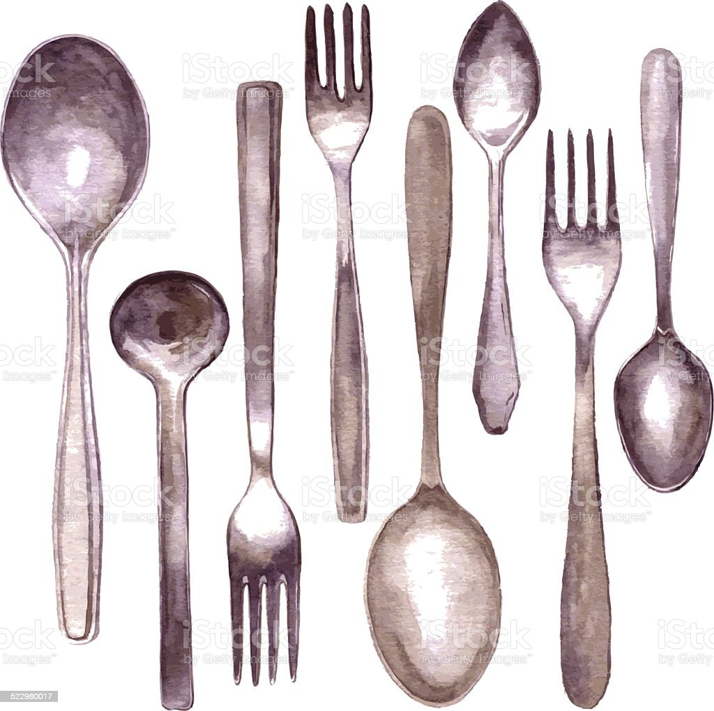 set of different spoons and forks vector art illustration