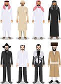 Set of different standing arab and jewish men