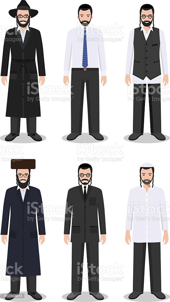 Set of different standing jewish men in the traditional clothing. vector art illustration