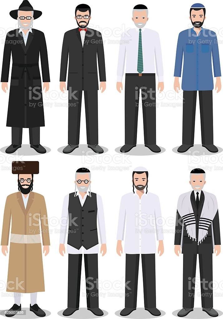 Set of different standing jewish old and young men. Vector. vector art illustration
