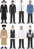 Set of different standing jewish old and young men. Vector.
