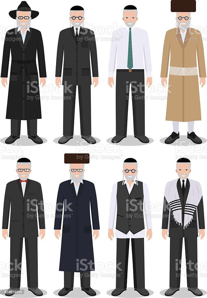 Set of different standing jewish old men. Vector illustration. vector art illustration