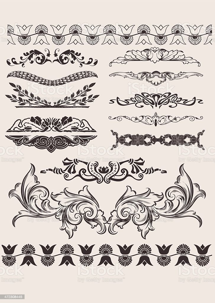 Set Of Different Style Design Elements vector art illustration