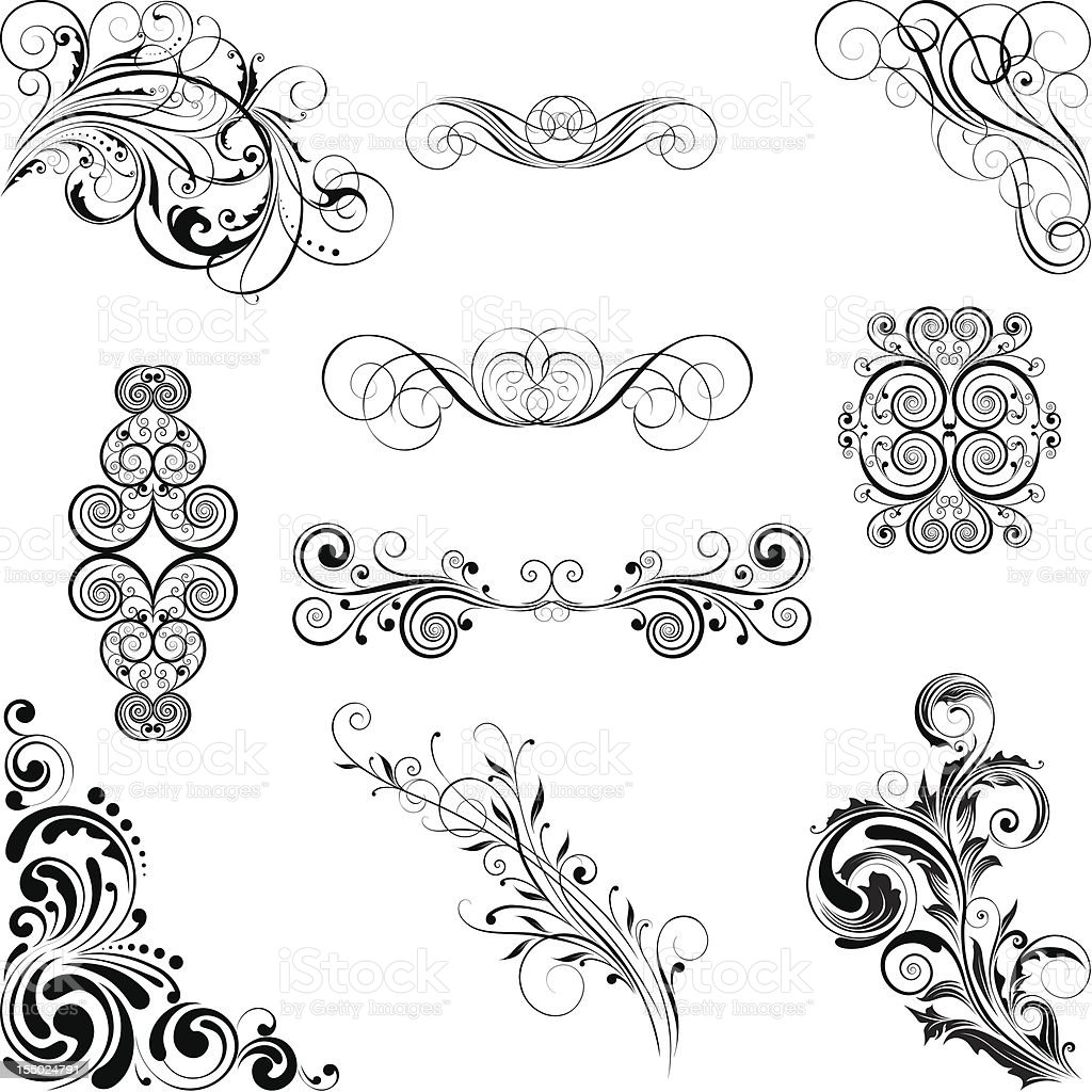 Set of different style ornaments royalty-free stock vector art