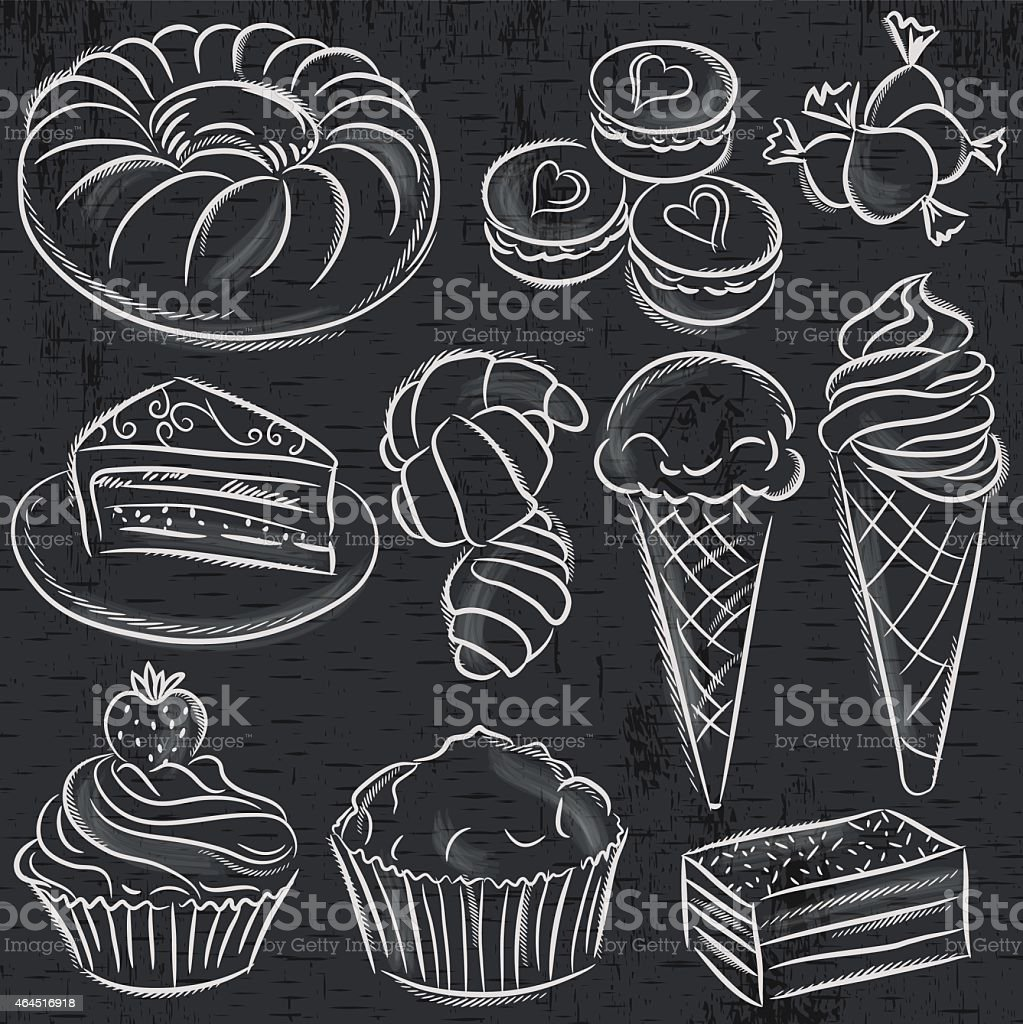 set of different sweetmeats on blackboard, vector vector art illustration
