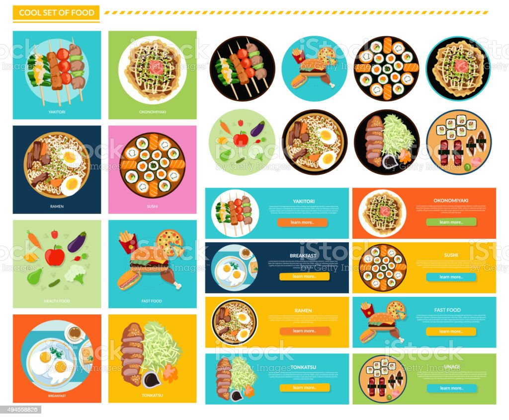 Set of Different Tasty Dishes Flat vector art illustration