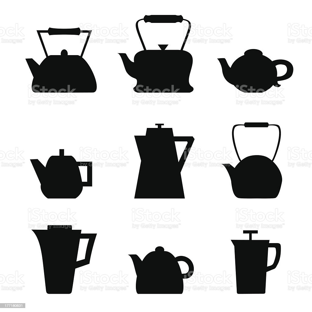 Set of different teapots. Kettles icons. Kitchen isolated pots royalty-free stock vector art