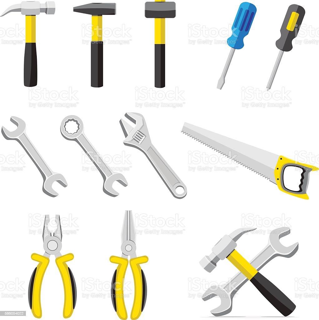 set of different tools vector art illustration