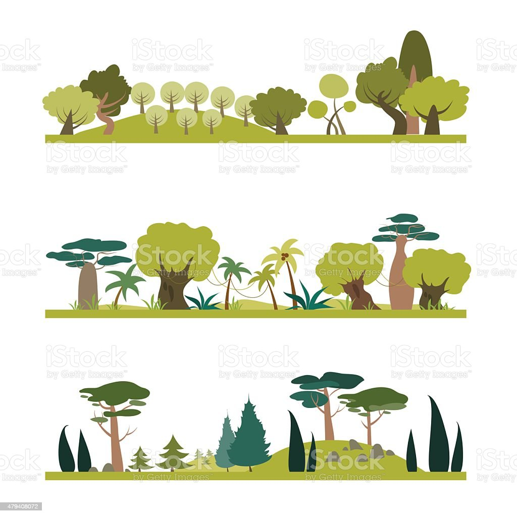Set of different trees species vector art illustration