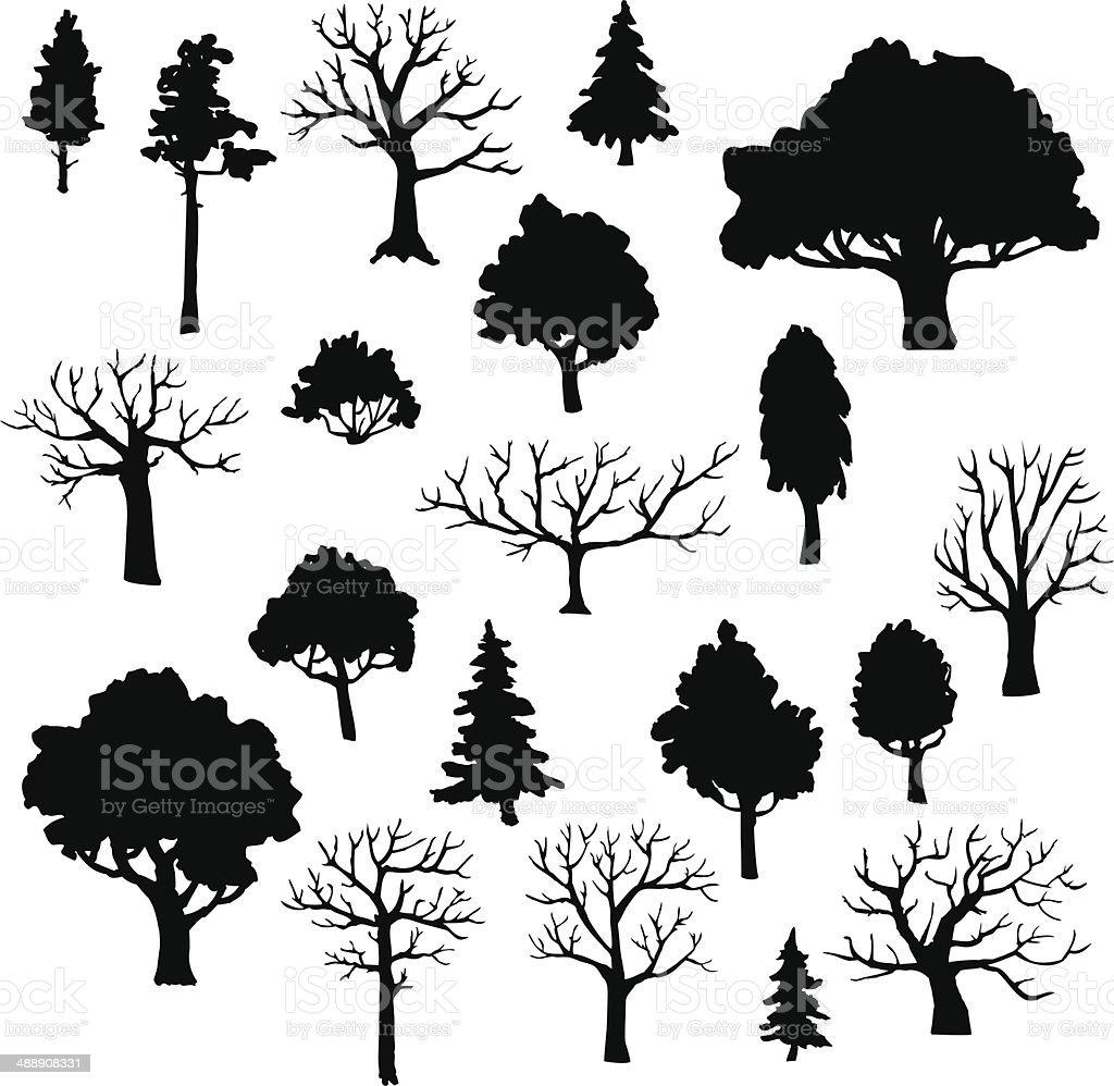 set of different trees vector art illustration