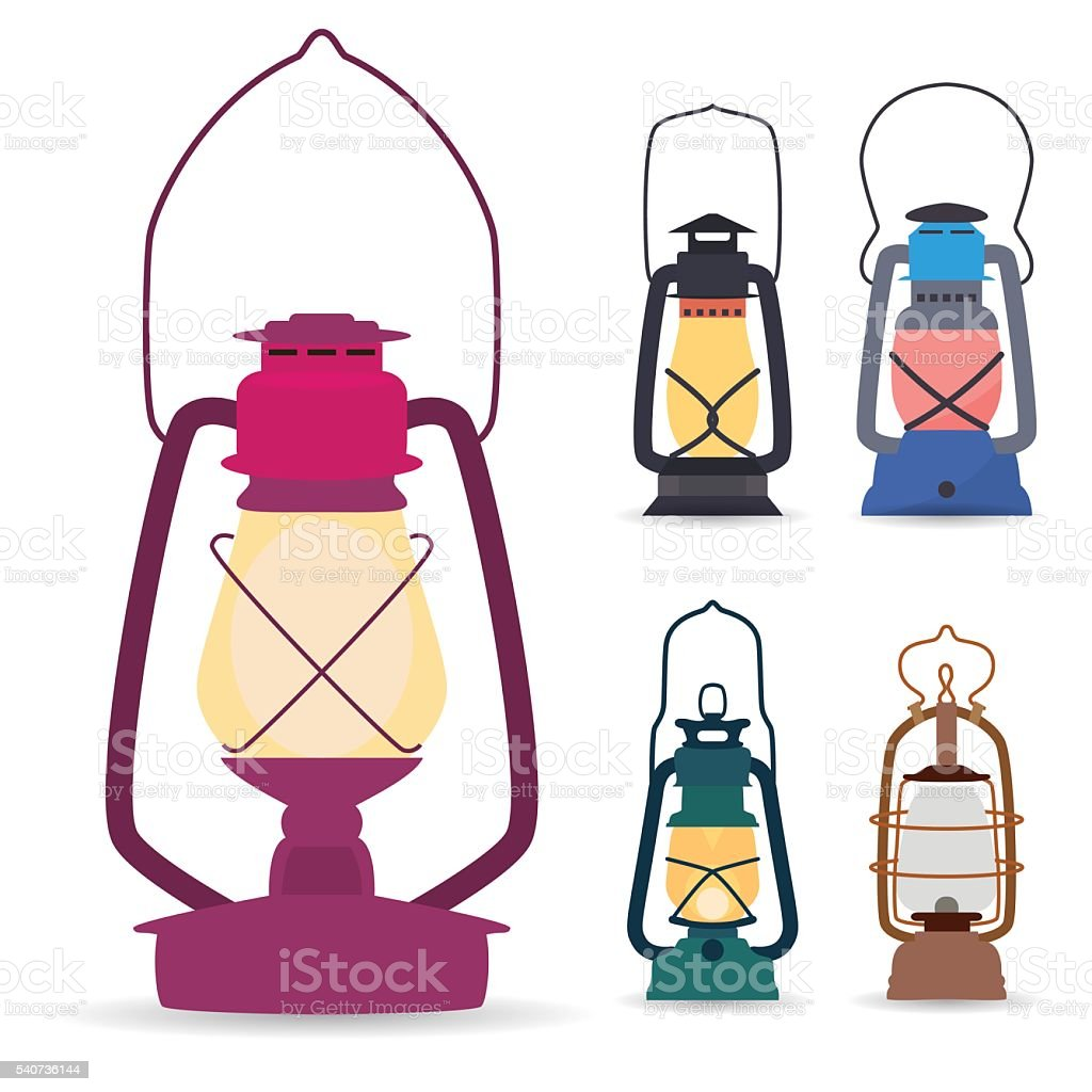 Set of different types of oil lamps in  flat style vector art illustration