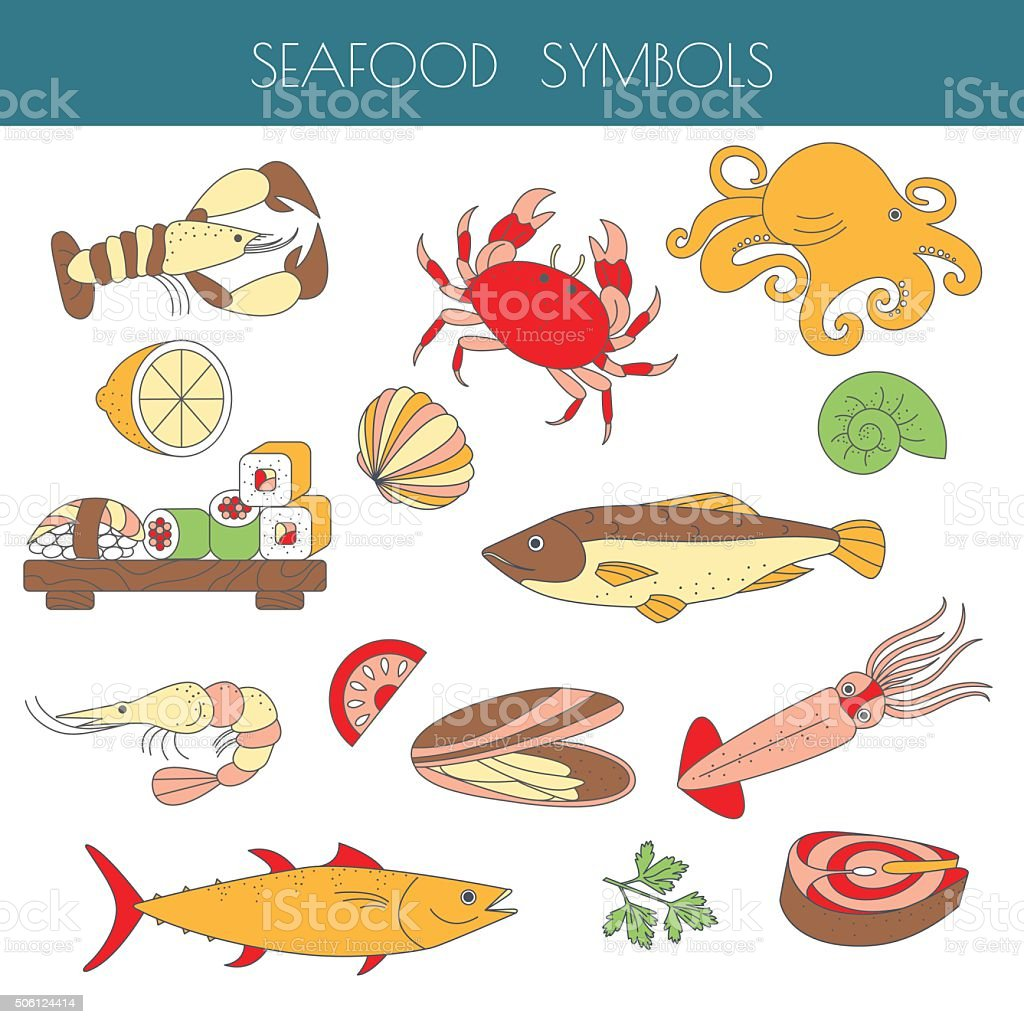 Set of different types of  seafood. vector art illustration