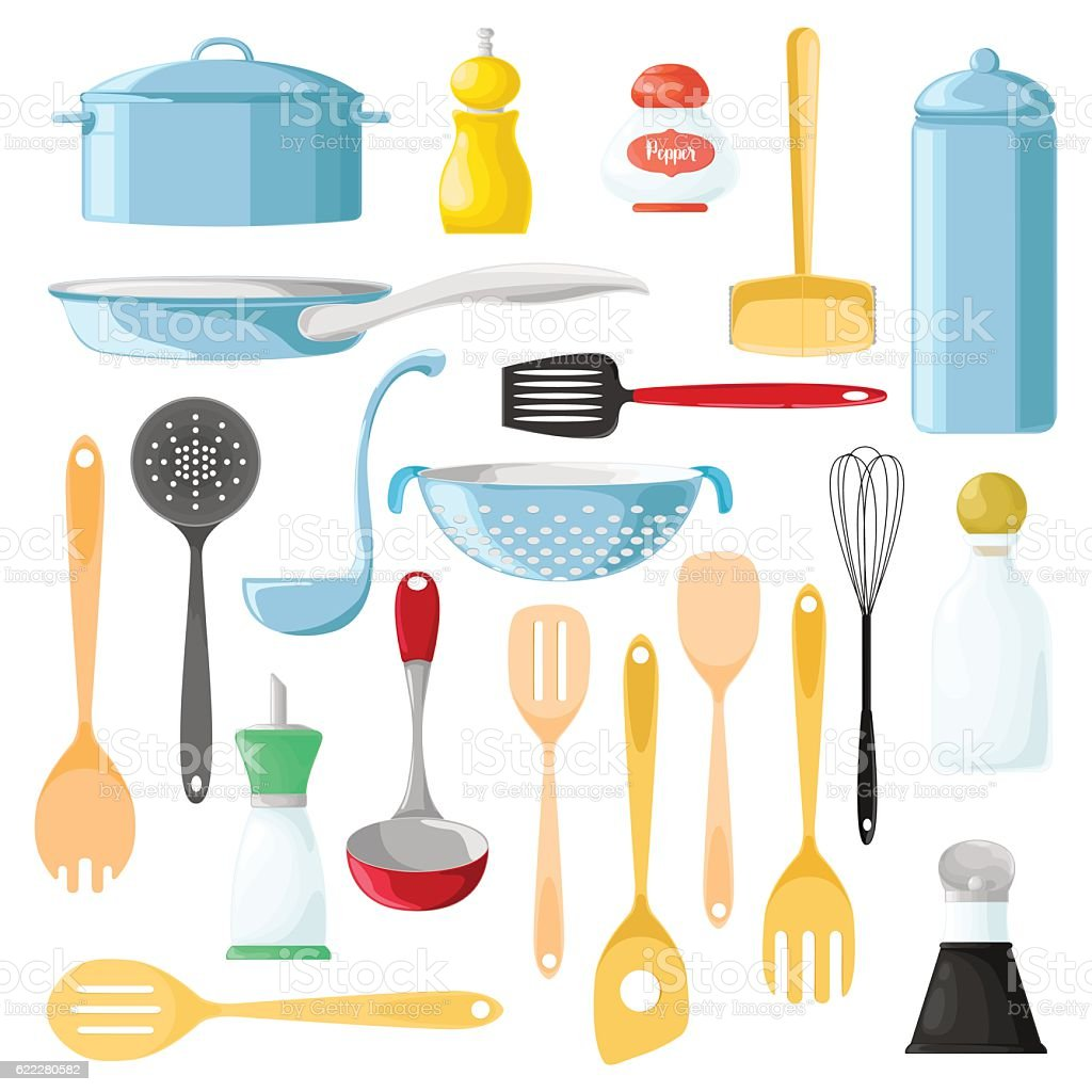 Set of different utensils for cooking. Wooden spoon. vector art illustration