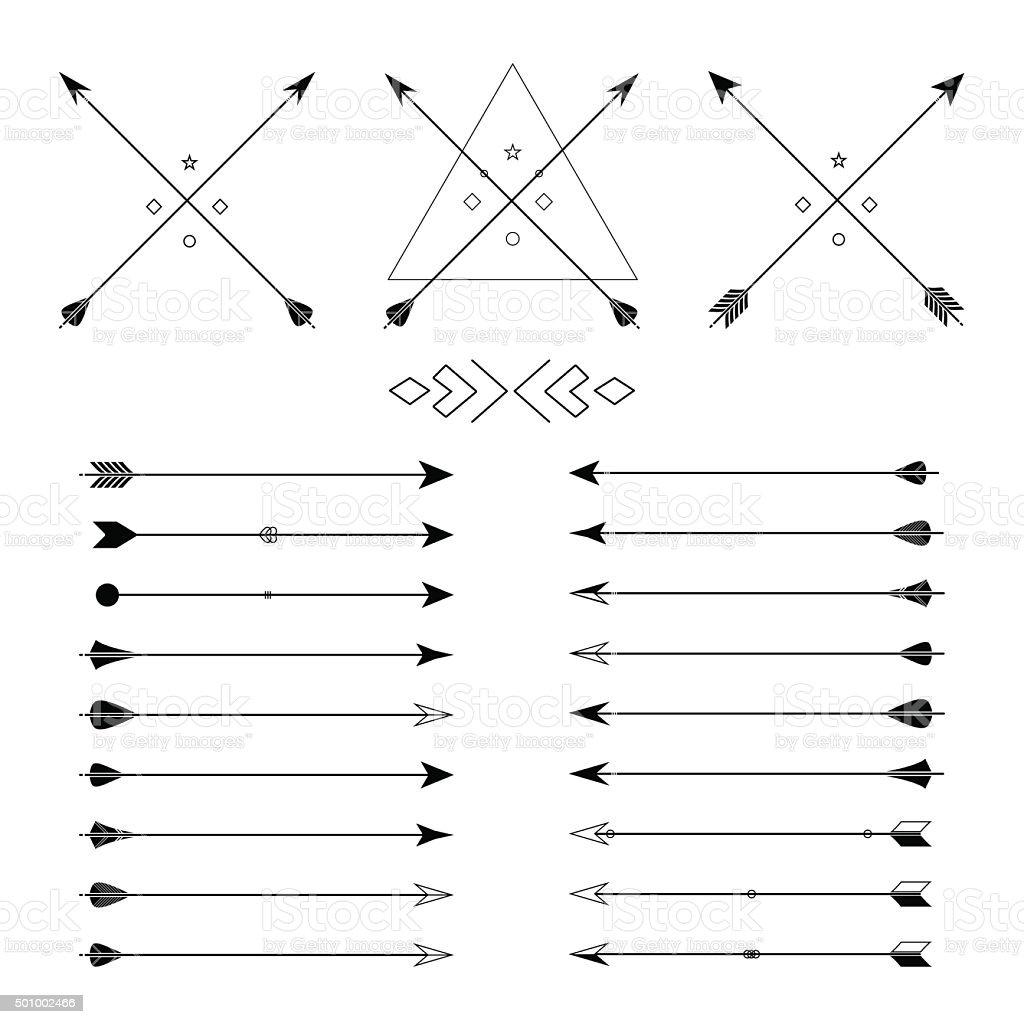 Set of different vector arrows vector art illustration