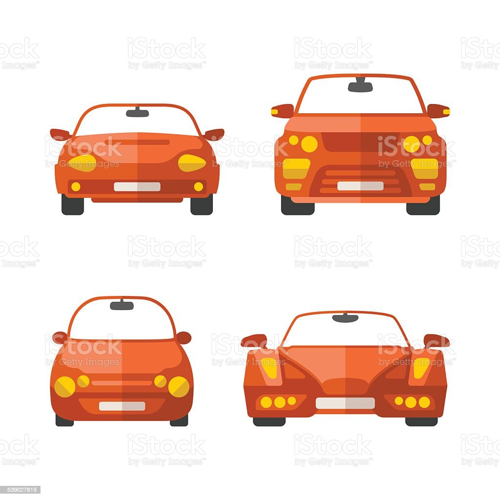 Set of different vector passenger cars in flat style vector art illustration