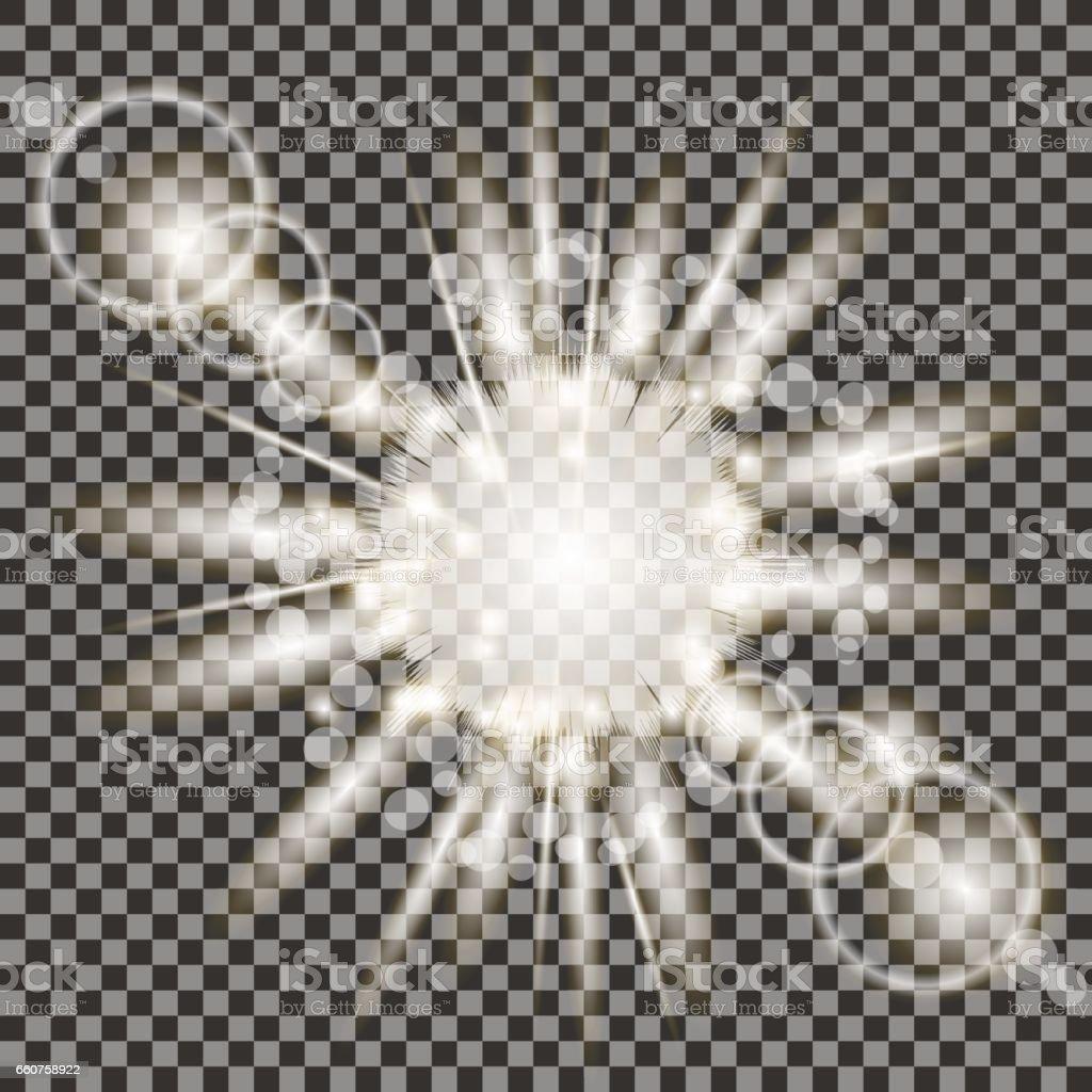 Set of Different White Lights vector art illustration