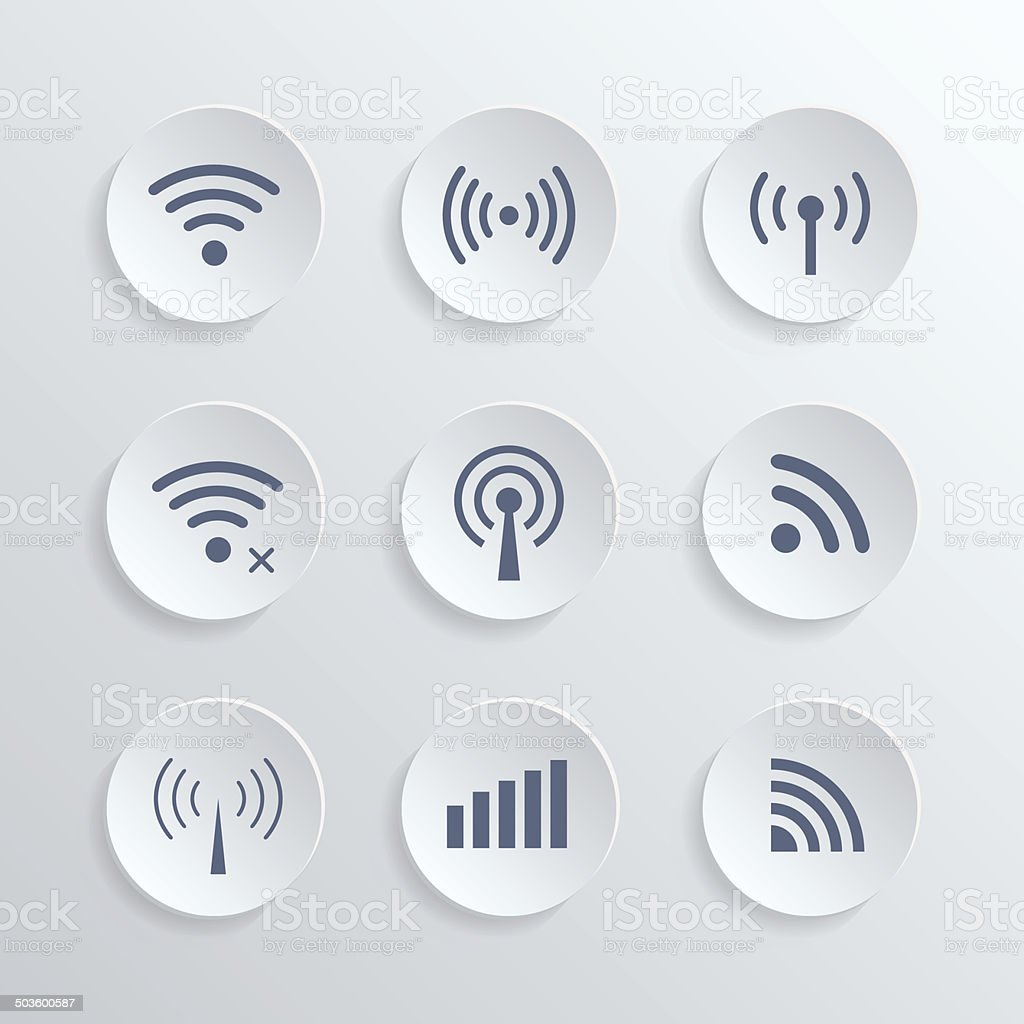 set of different  wireless 3d buttons and wifi icons vector art illustration