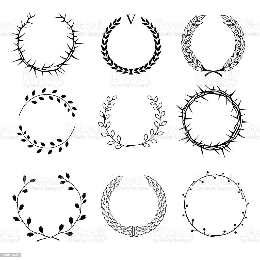Set of different wreaths vector art illustration
