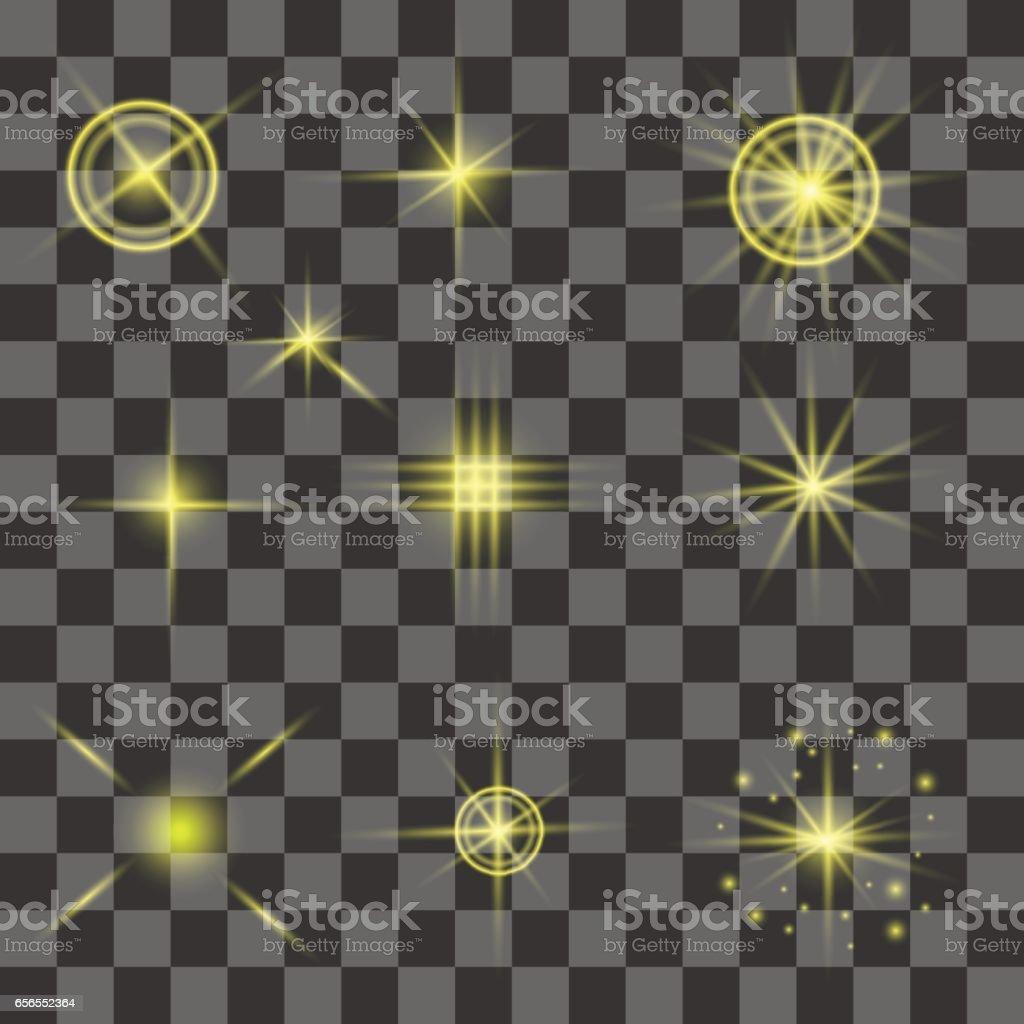 Set of Different Yellow Lights vector art illustration